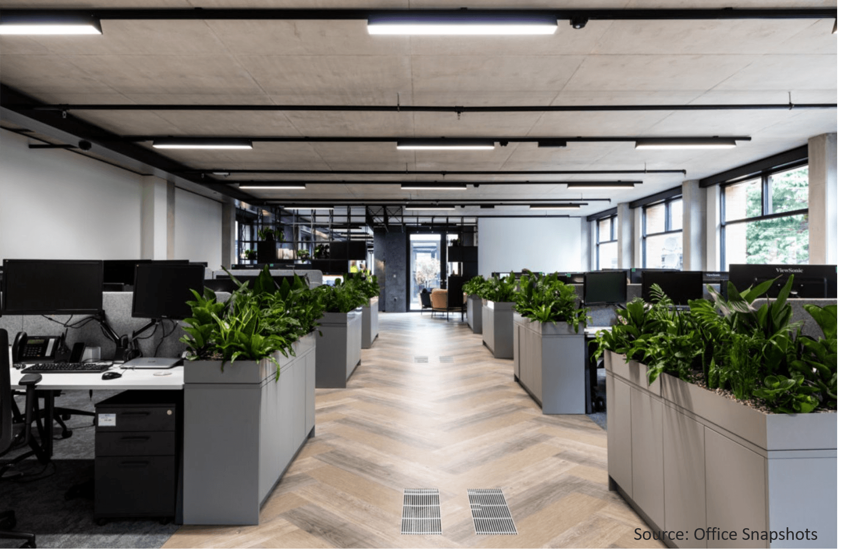built-in-cabinet-top-planters-for-office-plants