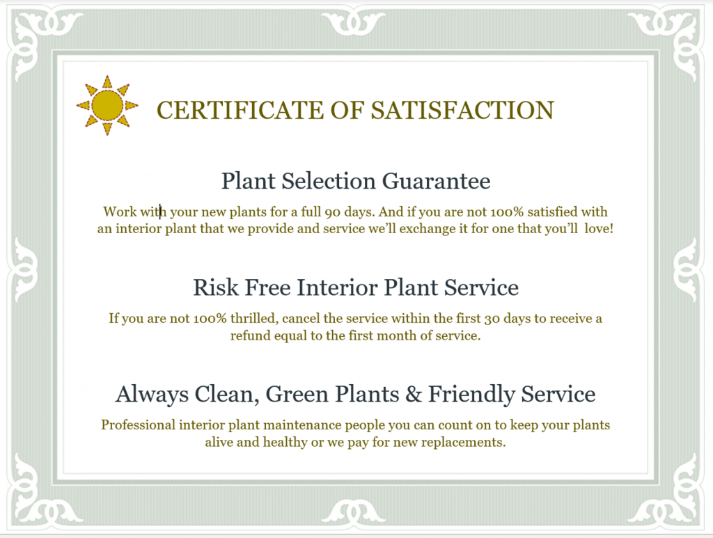 Interior plant maintenance contract service guarantees